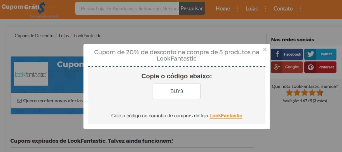 b517cad9446f Cupom de Desconto LookFantastic - Até 50% - julho 2019