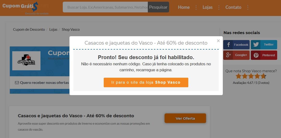 Cupom de Desconto Shop Vasco - Até 50% - outubro 2018 87bc467064b02